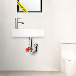 """Eclife 18-3/8"""" 1.5 GPM Wall Mount White Ceramic Sink Bathroo"""