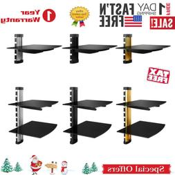 2 TIER DUAL GLASS SHELF WALL MOUNT UNDER TV CABLE BOX COMPON