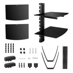 2 Tier Glass Shelf Wall Mount Bracket for DVD Players/Cable