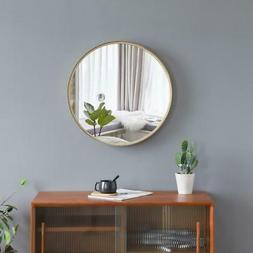 20-Inch Wall Mounted Round Mirror Glass Panel Circle Gold Me