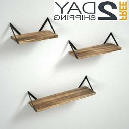 3 Floating Shelves Storage Wall Mounted Rustic Wood for bedr