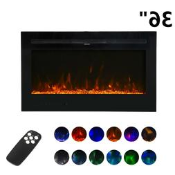 "36"" Wall Mount Electric Fireplace Heater Multi-Color LED F"