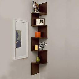5 Tier Corner Shelf Wall Mount Zig Zag Storage Rack Shelves