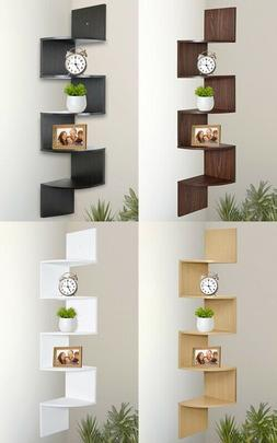 Greenco 5 Tier Wall Mount Corner Shelves Finish Home New Fre