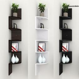 5 Tier Wooden Corner Shelf Zig Zag Floating Wall Mount Stora