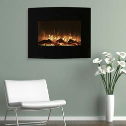 Northwest 80-455S Mini Curved Black Fireplace With Wall & Fl