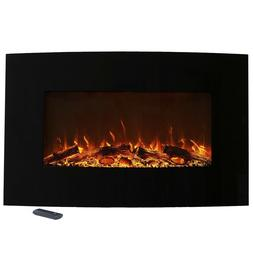"Northwest 80-WSG032 36"" Curved Color Changing Fireplace Wall"