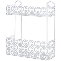 Decorative Multipurpose White Wall Mount 2 Tier Shelf Rack f