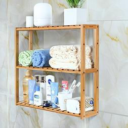 HOMFA Bamboo Bathroom Shelf 3-Tier Multifunctional Adjustabl