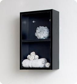 Fresca Black Bathroom Linen Side Cabinet w/2 Open Storage Ar