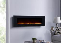 Black Electric Fireplace Wall Mount Heated Led Remote Contro