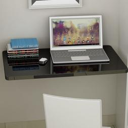Black Wall-Mount Floating Folding Computer Desk Home Office