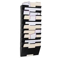Black Wall Mount Steel File Holder Organizer Rack 10 Section