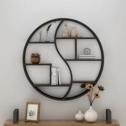 Bobby Industrial Wall Mount Round Yin Yang Floating Shelf