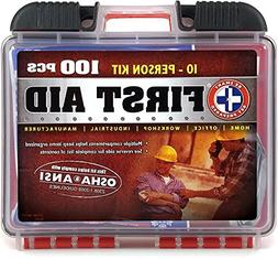 Be Smart Get Prepared 100 Piece First Aid Kit, Exceeds OSHA