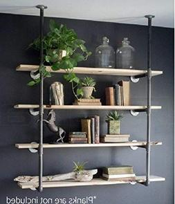 Industrial Retro Wall Mount Iron Pipe Shelf Hung Bracket Diy