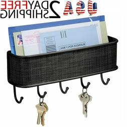 Key Holder Mail Rack Entryway Wall Mounted Shelve Hooks Orga