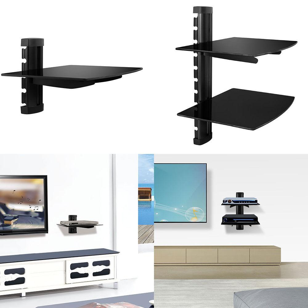 2 TIER GLASS SHELF WALL MOUNT UNDER TV CABLE BOX COMPONENT D
