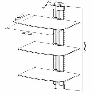 3 GLASS SHELF WALL MOUNT CABLE BOX COMPONENT