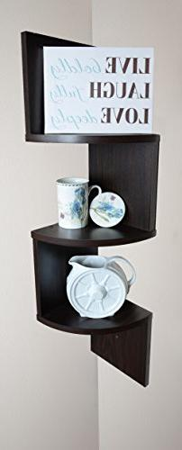 Adorn Home Essentials| Corner Zig Zag Wall Mount Shelves| 3-