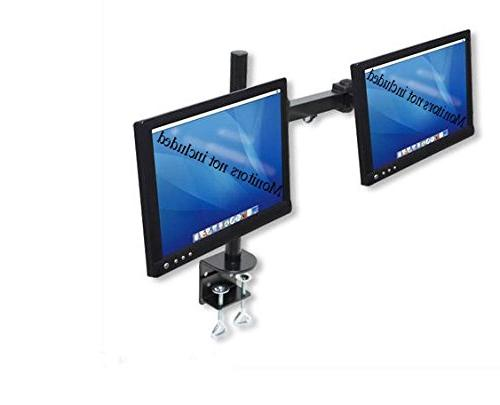 Dual LCD Monitor Stand desk clamp holds up to 24-Inch lcd mo