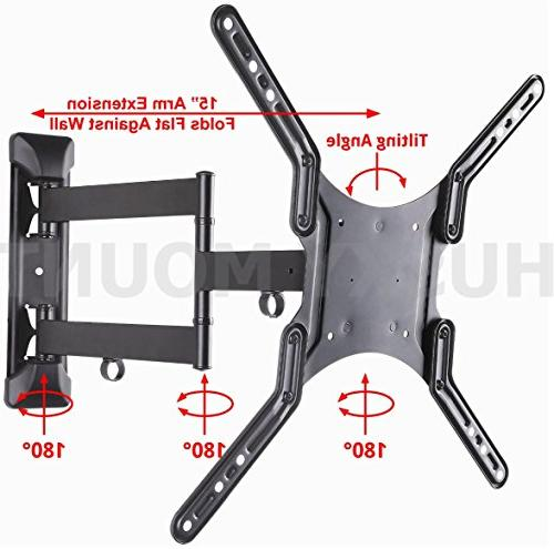 Husky Mount TV Wall Mount Swivel Heavy Duty Friendly Articulating fits Most LED LCD Flat Screen up VESA 400x400 Capacity
