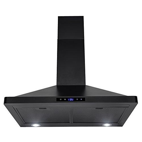 """30"""" Black Stainless Steel Touch Panel Wall Mount Range Hood"""