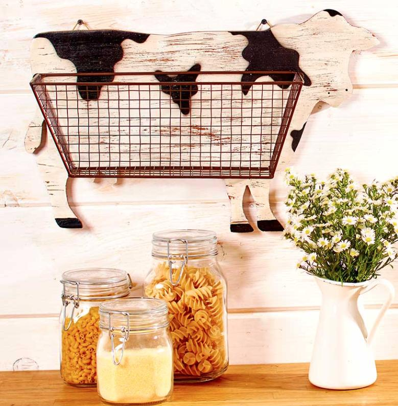 Cow Decor Wall Mount Country Rustic