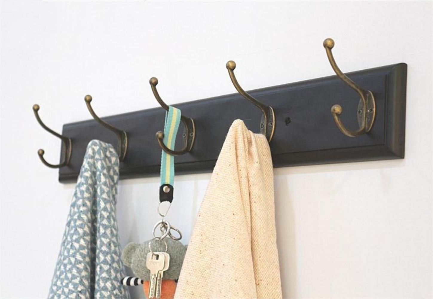 SW Entryway Coat Rack Organizer Wall Mount Shelf Hat Bag Key