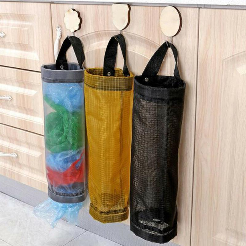grocery bags holder wall mount storage dispenser
