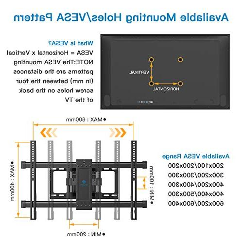 Full TV Wall Mount Dual Articulating 6 Bears to 37-70 TV Tilt, fit for LCD, Screen Max VESA 600x400mm