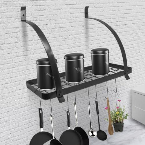 Wall Mount Pan Utensils Holder Organizer