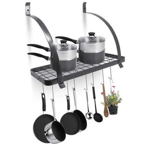 wall mount kitchen pot pan utensils rack