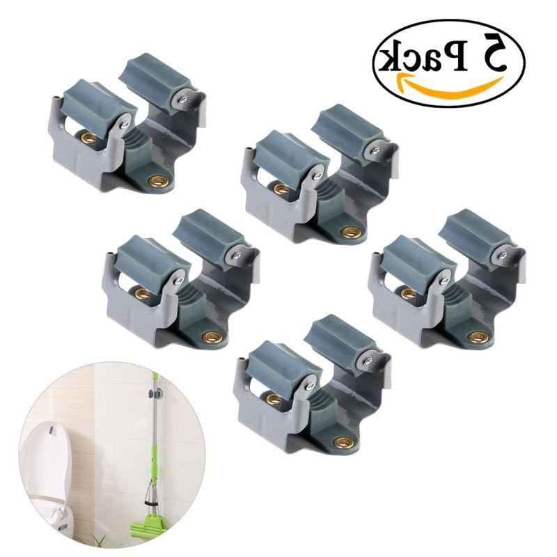 5pcs Wall Mounted Mop and Broom Holder Garden Storage Rack T