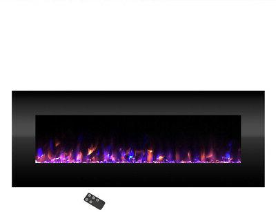 Wall Mounted No Heat LED Fire and Ice Electric Fireplace 54