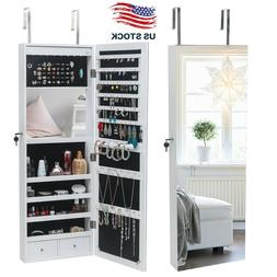 Lockable Over the Door/Wall Mount Mirrored Jewelry Cabinet A