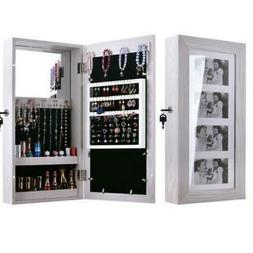 Mirrored Jewelry Cabinet Armoire White Makeup Organizer Wall