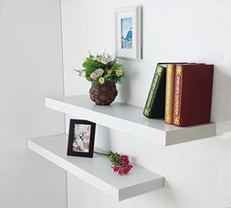 HAO Set of 2 Modern 10 Inch Depth Shelf For The Wall Wood Wa