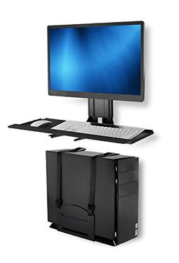 Mount-It! Monitor and Keyboard Wall Mount With CPU Holder, H