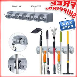 Mop And Broom Wall Mount Holder Organizer Cleaning Tool Rack