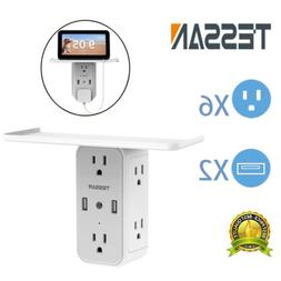 Multi Surge Protector Wall Mount Plug with 6 Outlet Power St