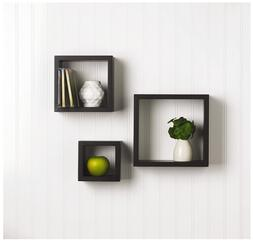 Set of 3 Floating Wall Mount Square Cube Shelves Black for W