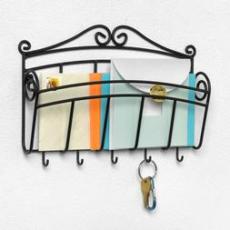 Sturdy Scroll Black Wall Mount Key and Letter Holder Rack