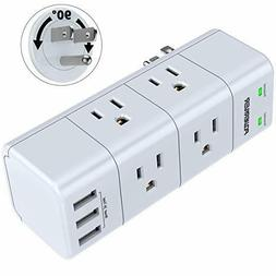 Surge Protector Wall Mount, Outlet Splitter with Rotating Pl