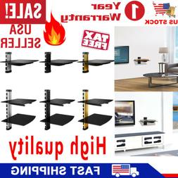 Tempered Glass Floating Wall Mount Shelf AV DVD Games Consol