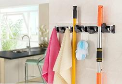 Wall Mount Broom Clamp Holder 4 Positions Grip Organizer & 5