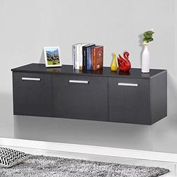 Topeakmart Wall Mount Buffet Floating Media Storage Cabinet