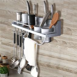Wall Mount Kitchen Iron Pot Pan Rack Hanging Cookware Organi
