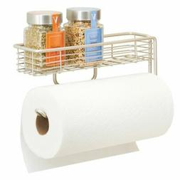 mDesign Wall Mount Metal Paper Towel Holder with Storage She