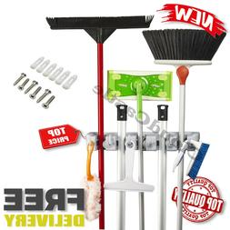 Wall Mount Mop And Broom Holder Organizer Cleaning Tool Rack